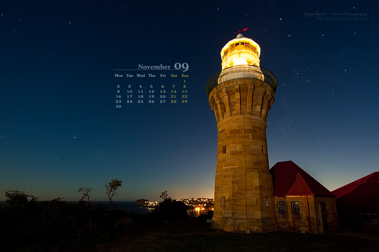 Barrenjoey Lighthouse Calendar November 2009
