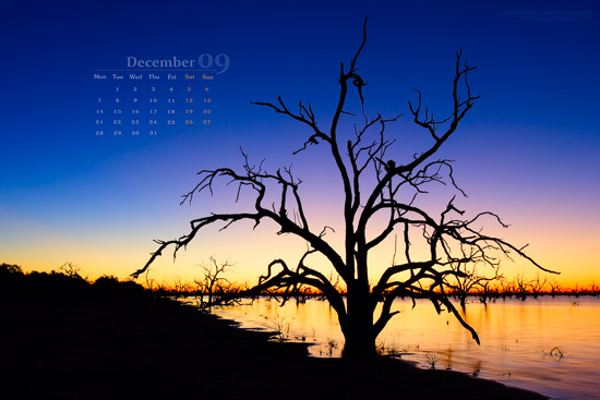 Lake Pamamaroo December 2009 Desktop Wallpaper Calendar