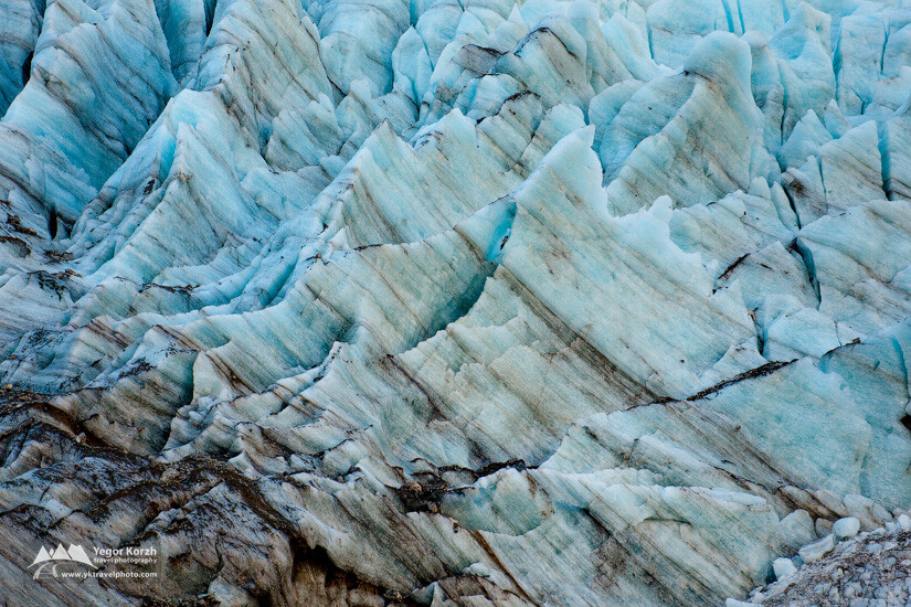 Ice layers at Fox Glacier, Westland National Park, South Island, New Zealand