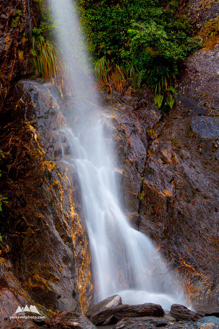 Waterfalls in Franz Josef Glacier Valley, South Island, New Zealand
