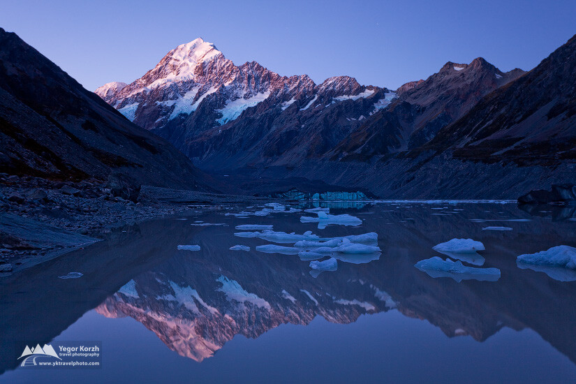 Aoraki/Mount Cook, Hooker Glacier Lake, South Island, New Zealand